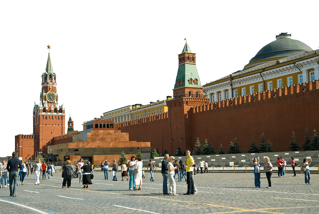 Tourists at Spasskaya Tower in Moscow PNG Image