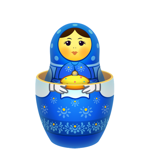 Blue Russian Nesting Doll PNG Image