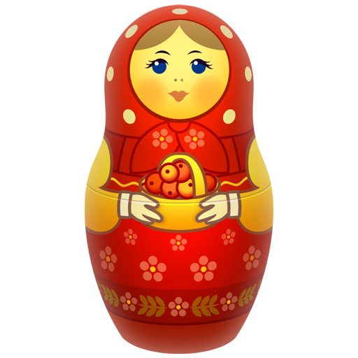 Red Russian Nesting Doll PNG Image