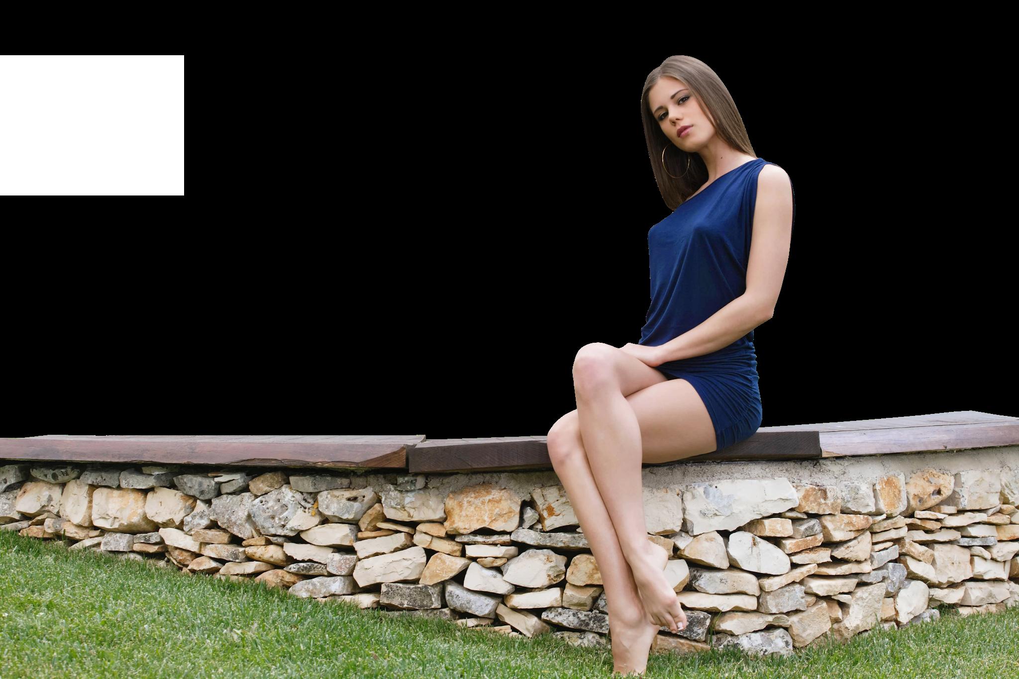 Sitting Little Caprice in Blue Dress