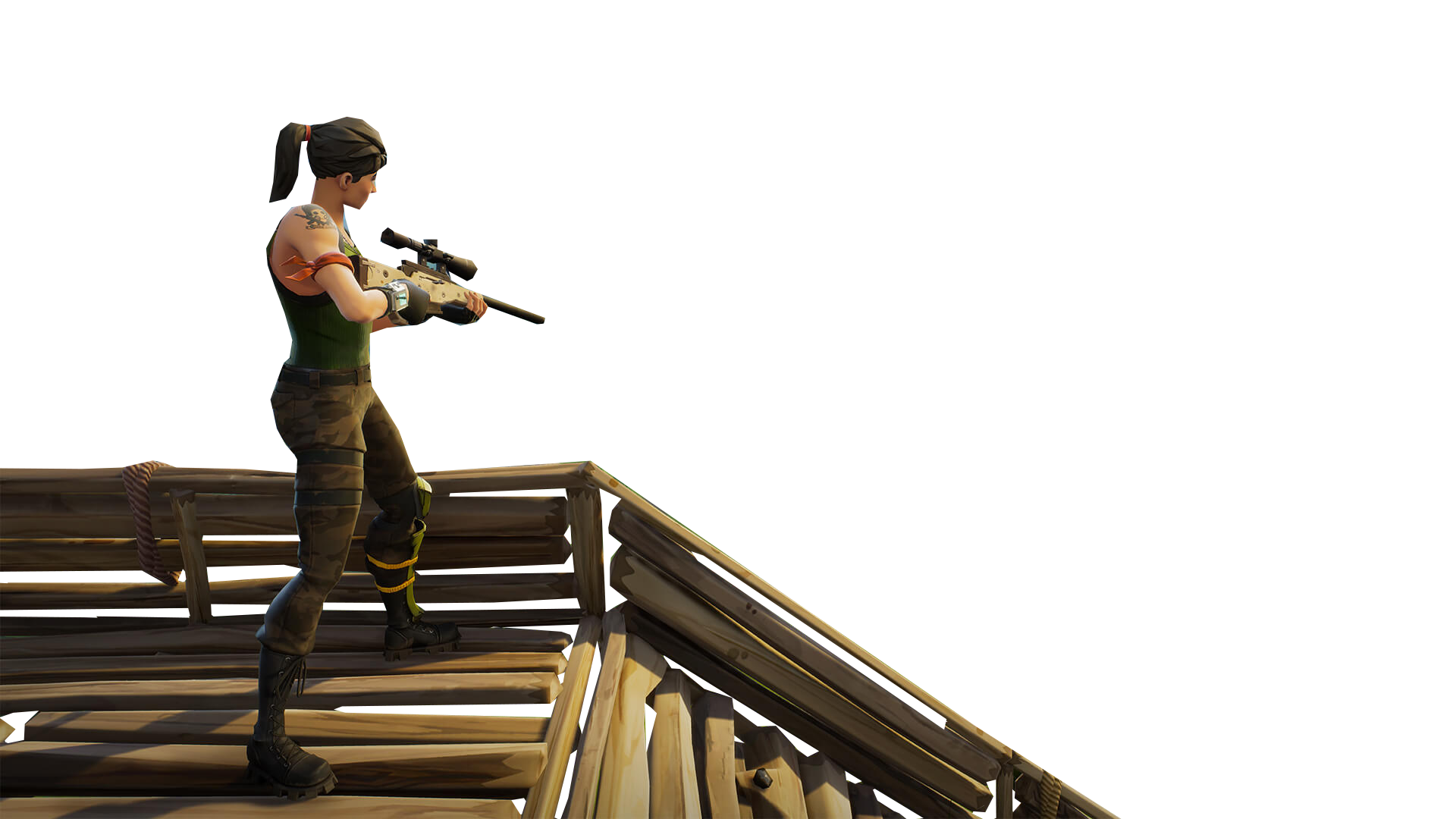 Sniper On Stairs Fortnite Thumbnail Template Png Image Purepng