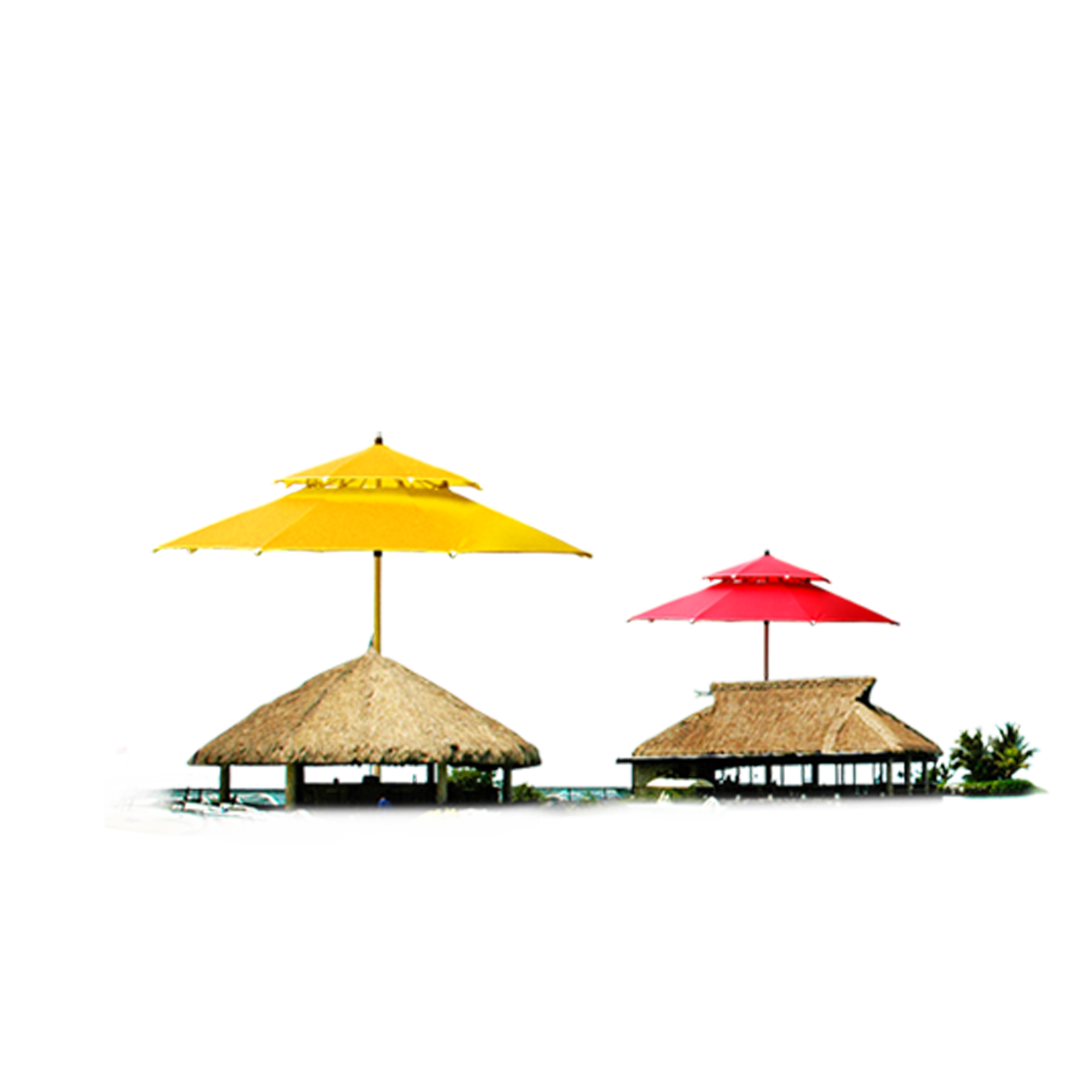 Red and Yellow Summer Huts PNG Image