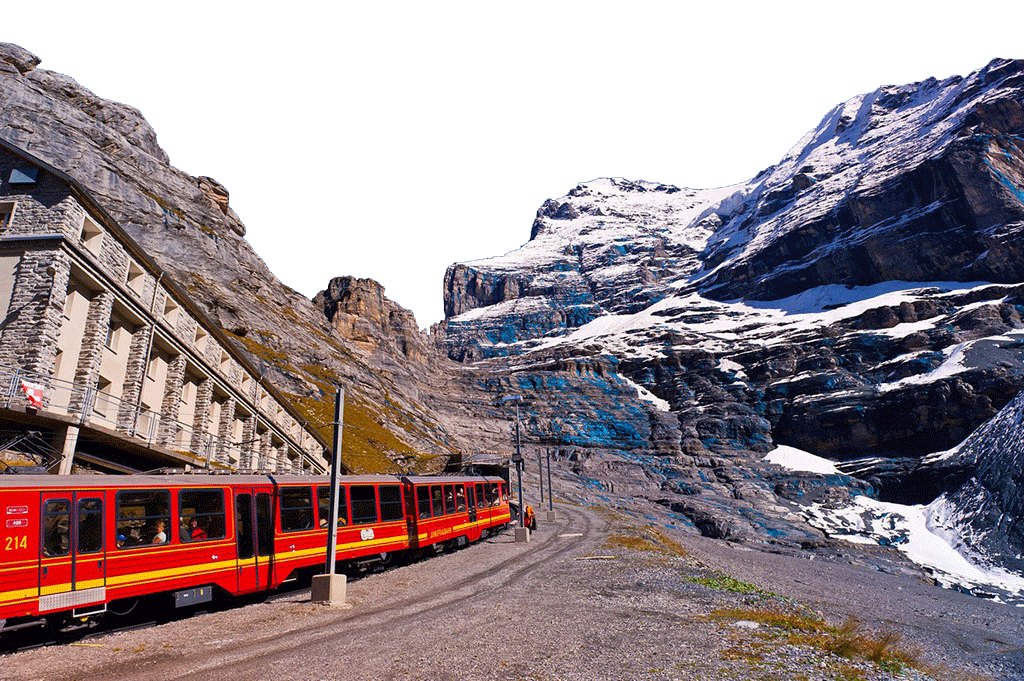 Train ride by Country-side - Switzerland PNG Image