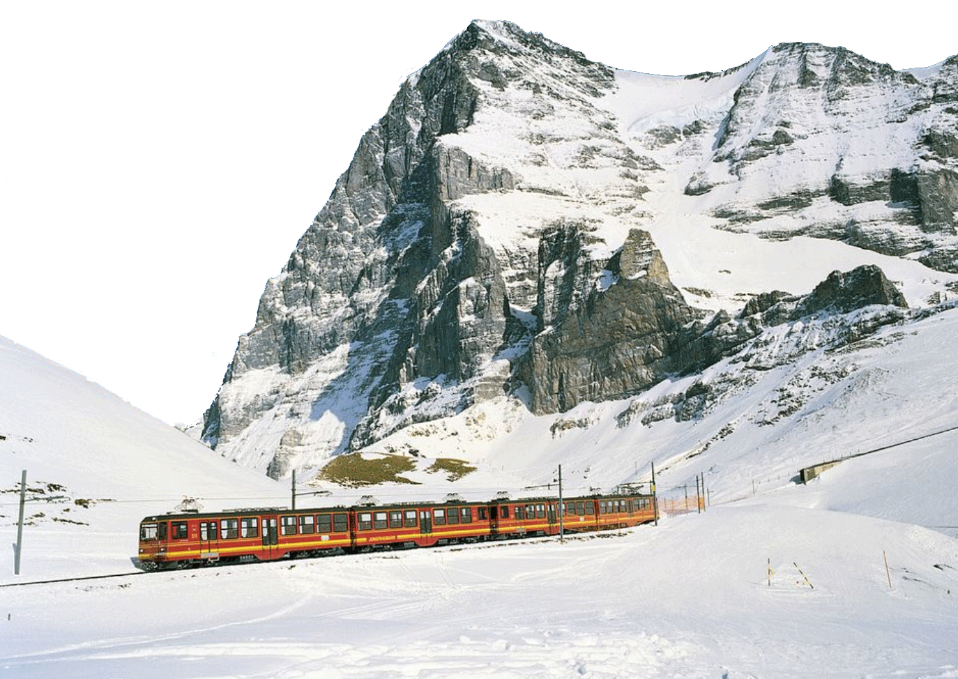 Train ride by Snowy Alps - Switzerland PNG Image
