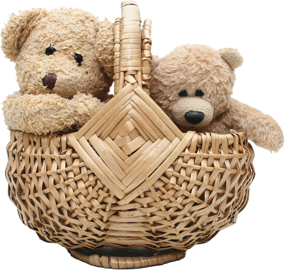 Two Teddy Bear In Basket PNG Image