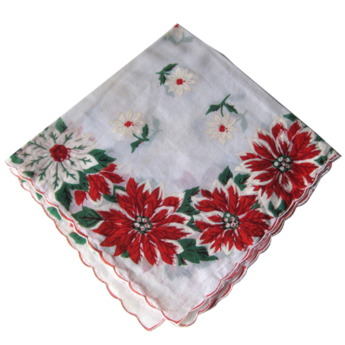 Vintage Christmas Holiday Poinsettia Handkerchief