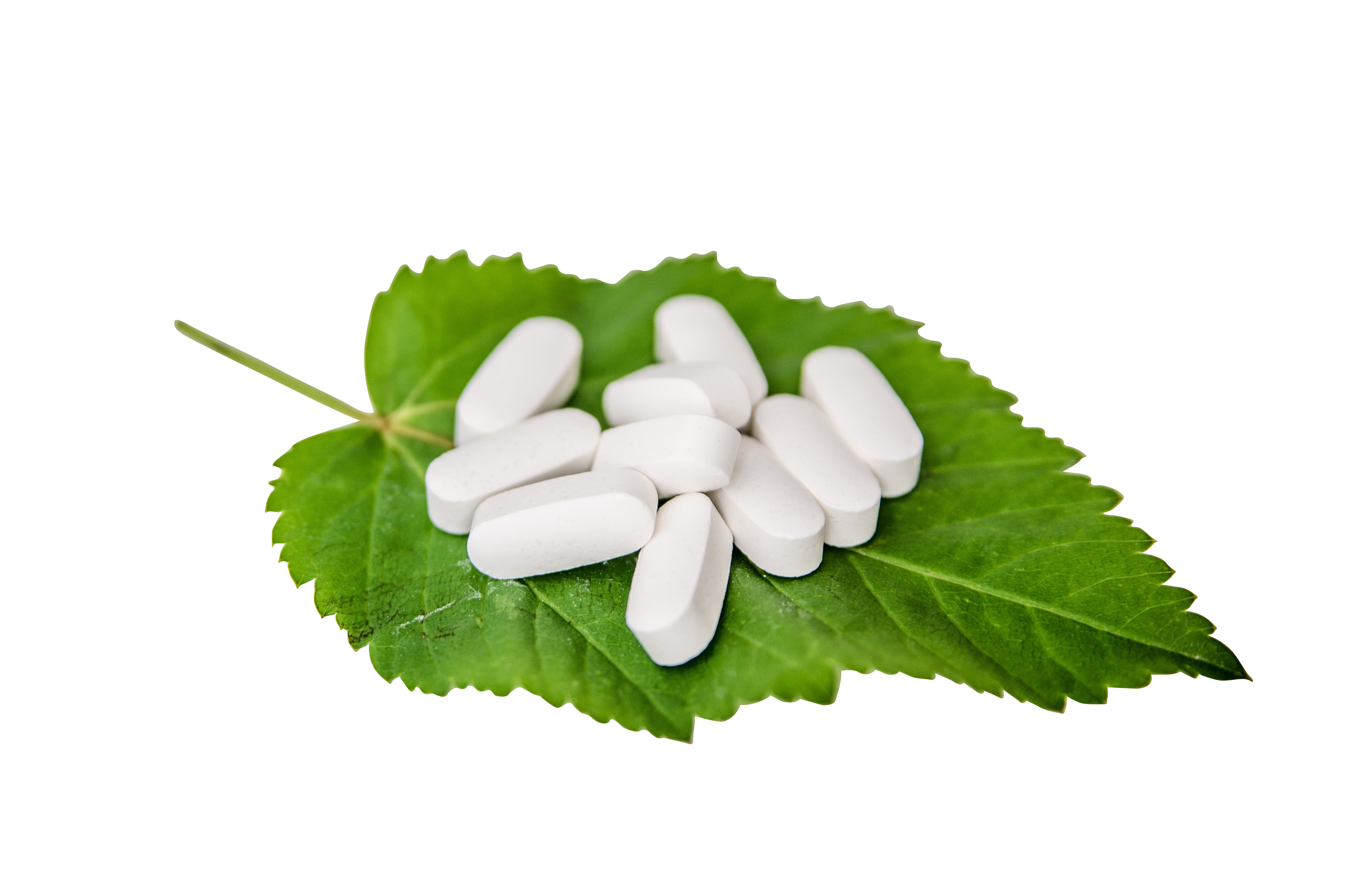 White Pills on a Leaf PNG Image