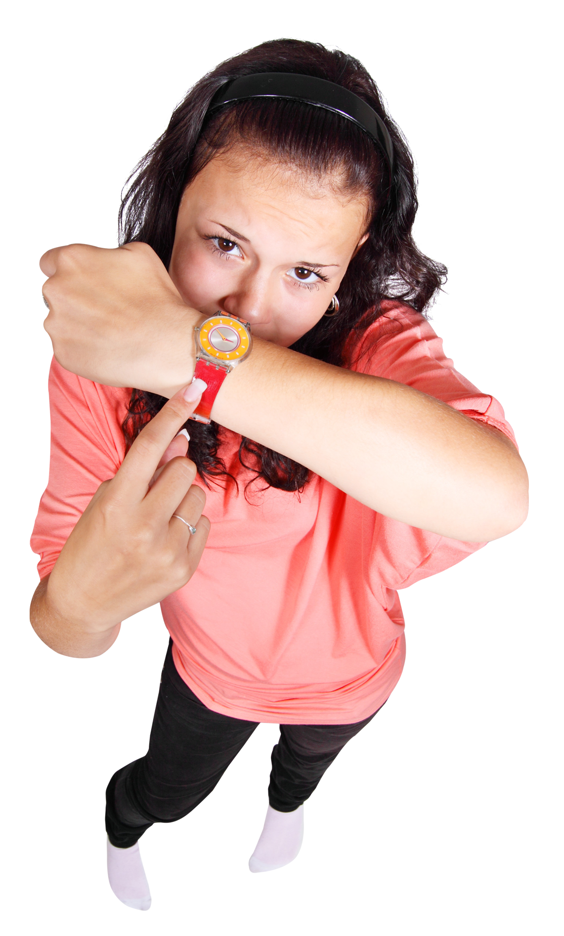 Young Girl Pointing Finger At Her Watch PNG Image