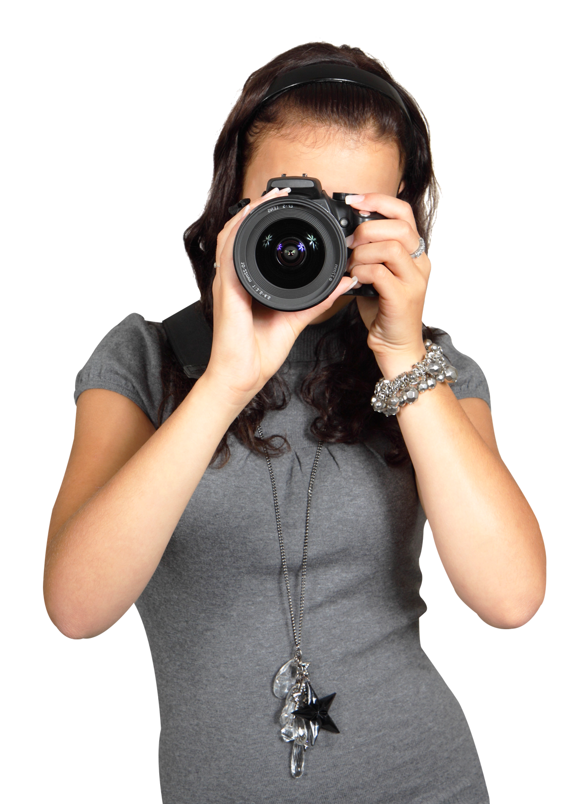 Young Woman with Digital Photo Camera