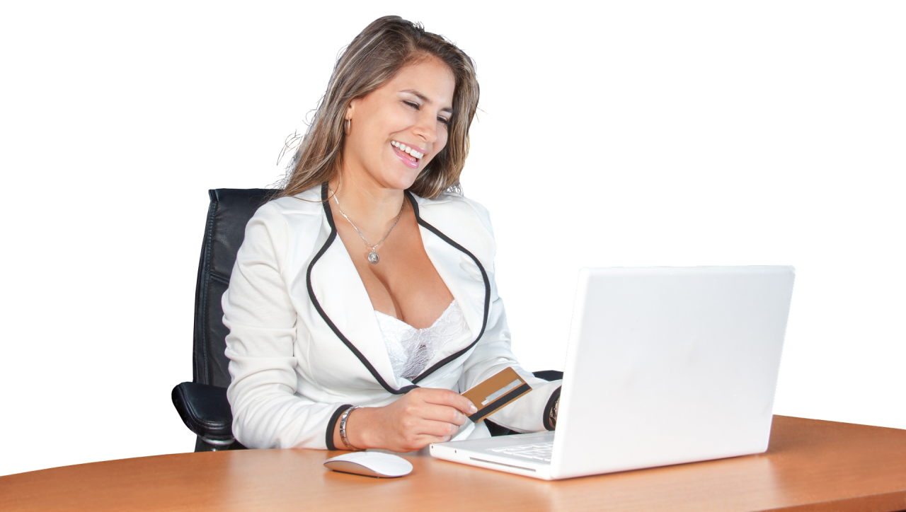 Woman on Laptop PNG Image
