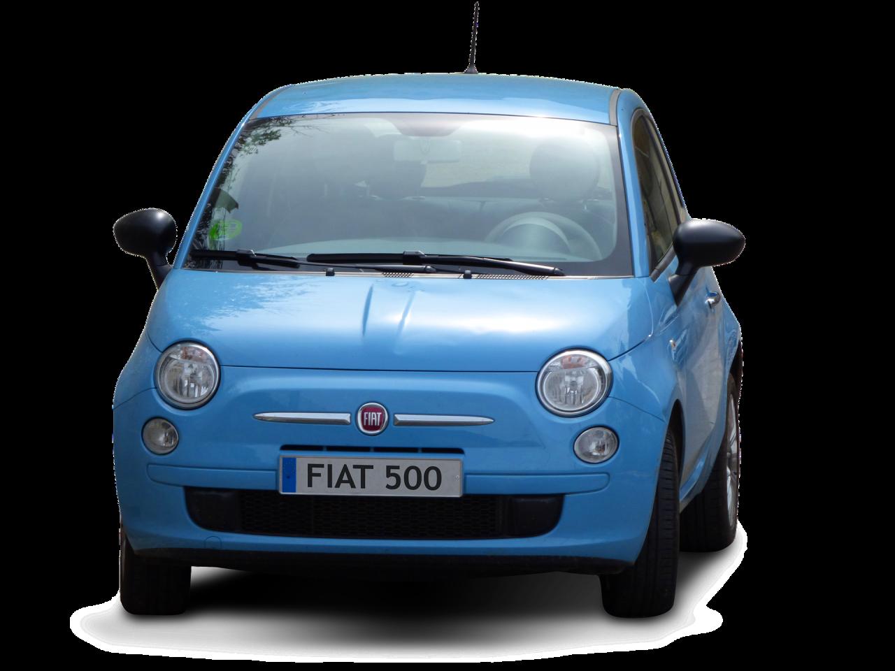 Blue Fiat 500 PNG Image