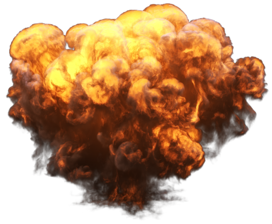 Big Explosion with Fire and Smoke PNG Image