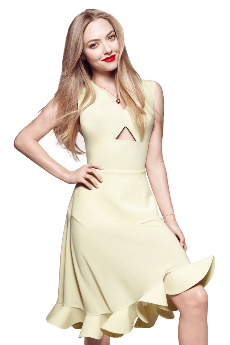 Amanda Seyfried Yellow Dress PNG Image