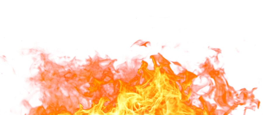 Hot Sparkling Fire Flame on the Ground PNG Image