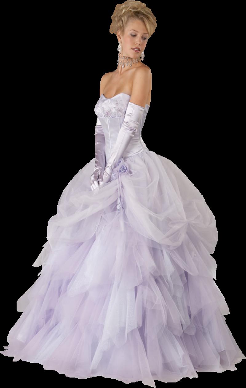 Bride in a Violet Wedding Dress PNG Image