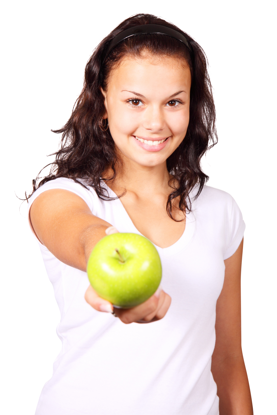 A girl hold apple in her hand PNG Image