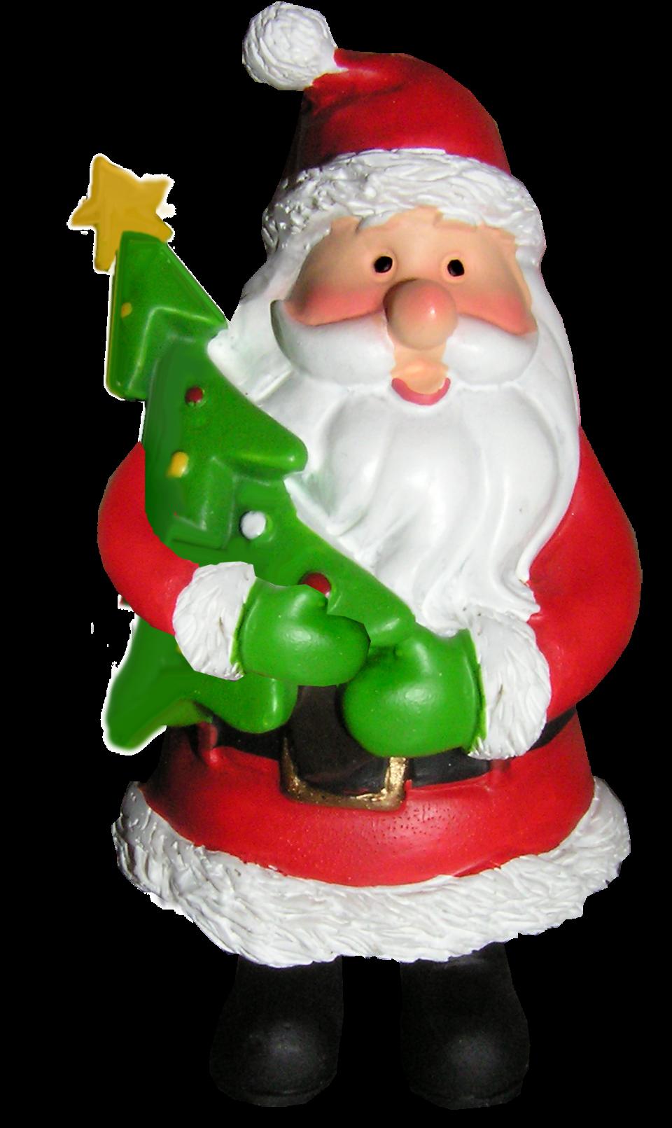 Santa Holding Christmas tree PNG Image