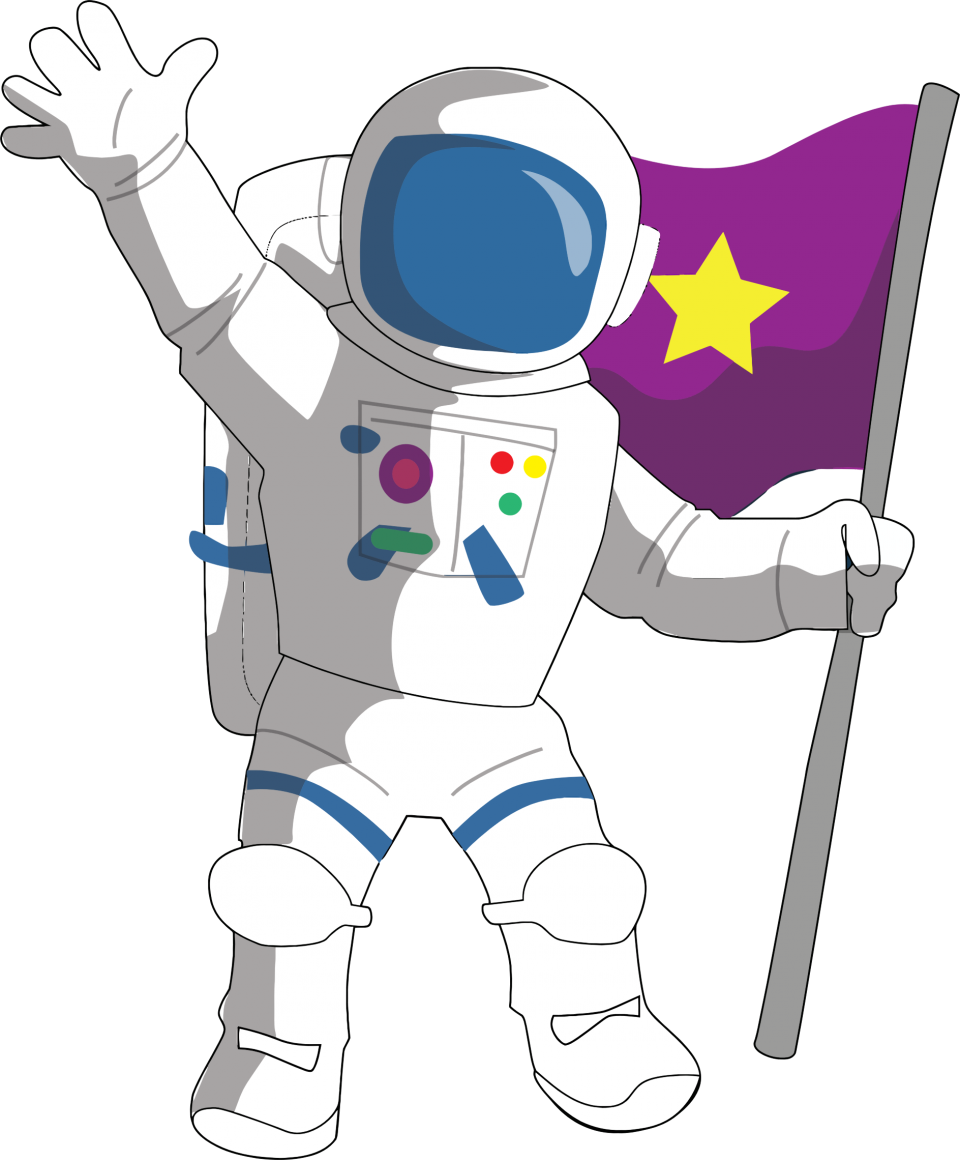 Astronaut hold Flag in Hand PNG Image