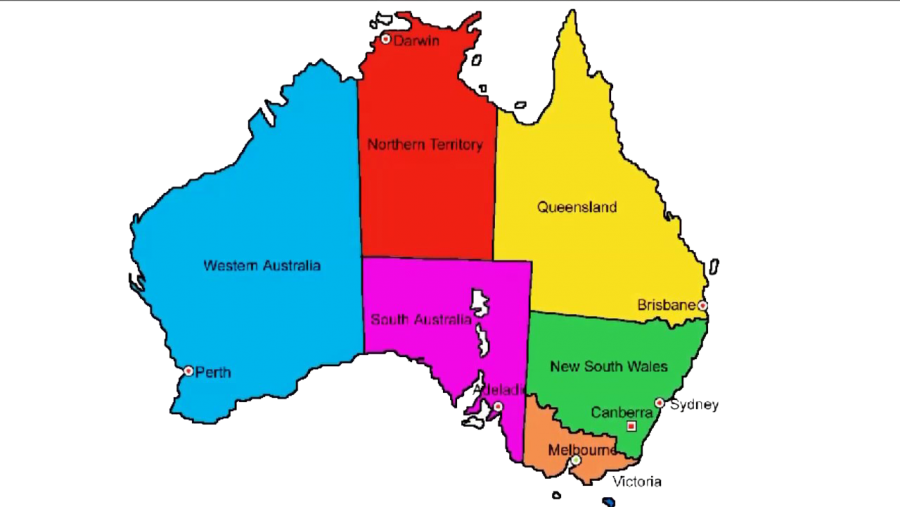 Australia Map with Names PNG Image