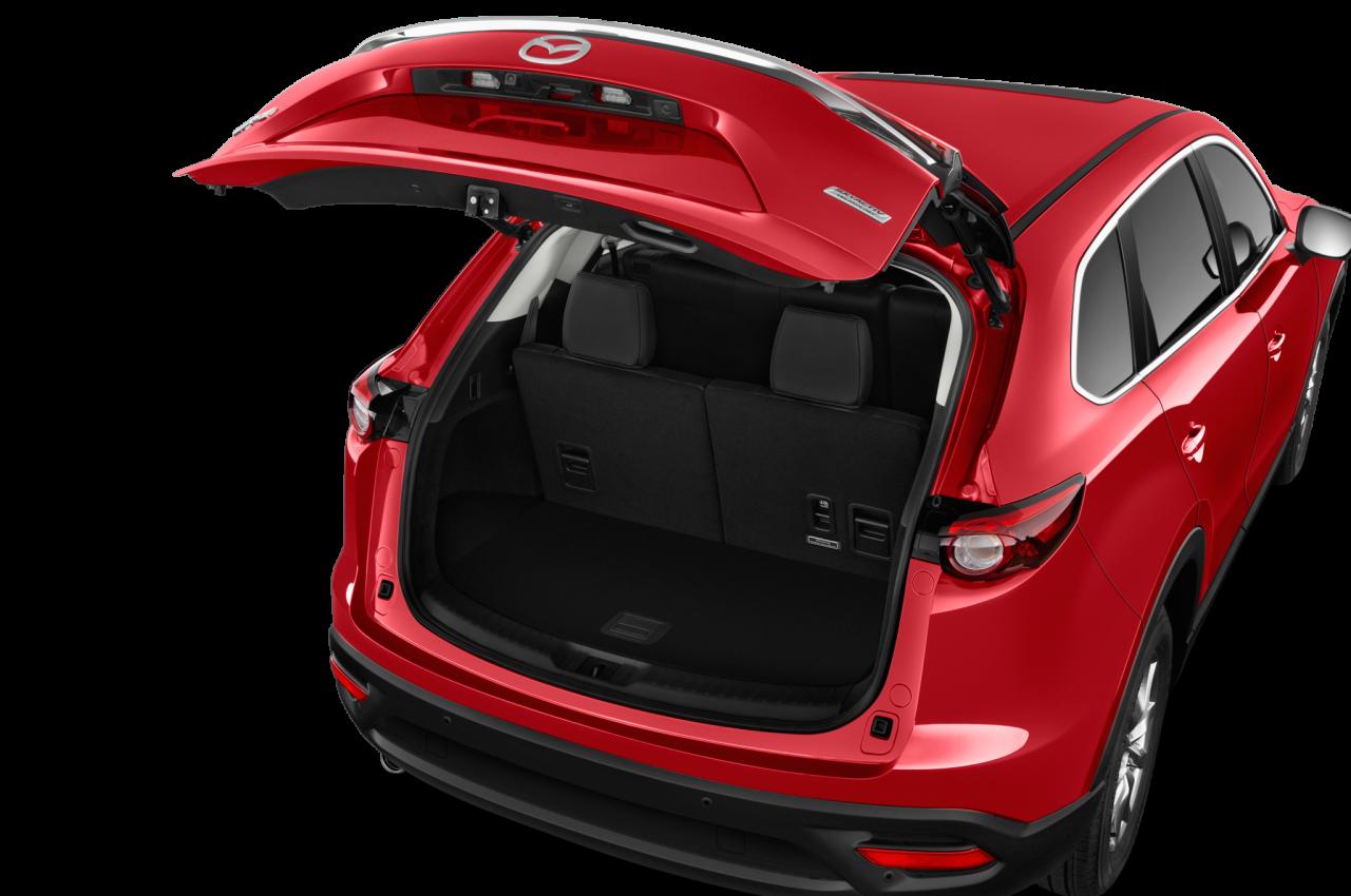 Backside open of Red Mazda Car PNG Image