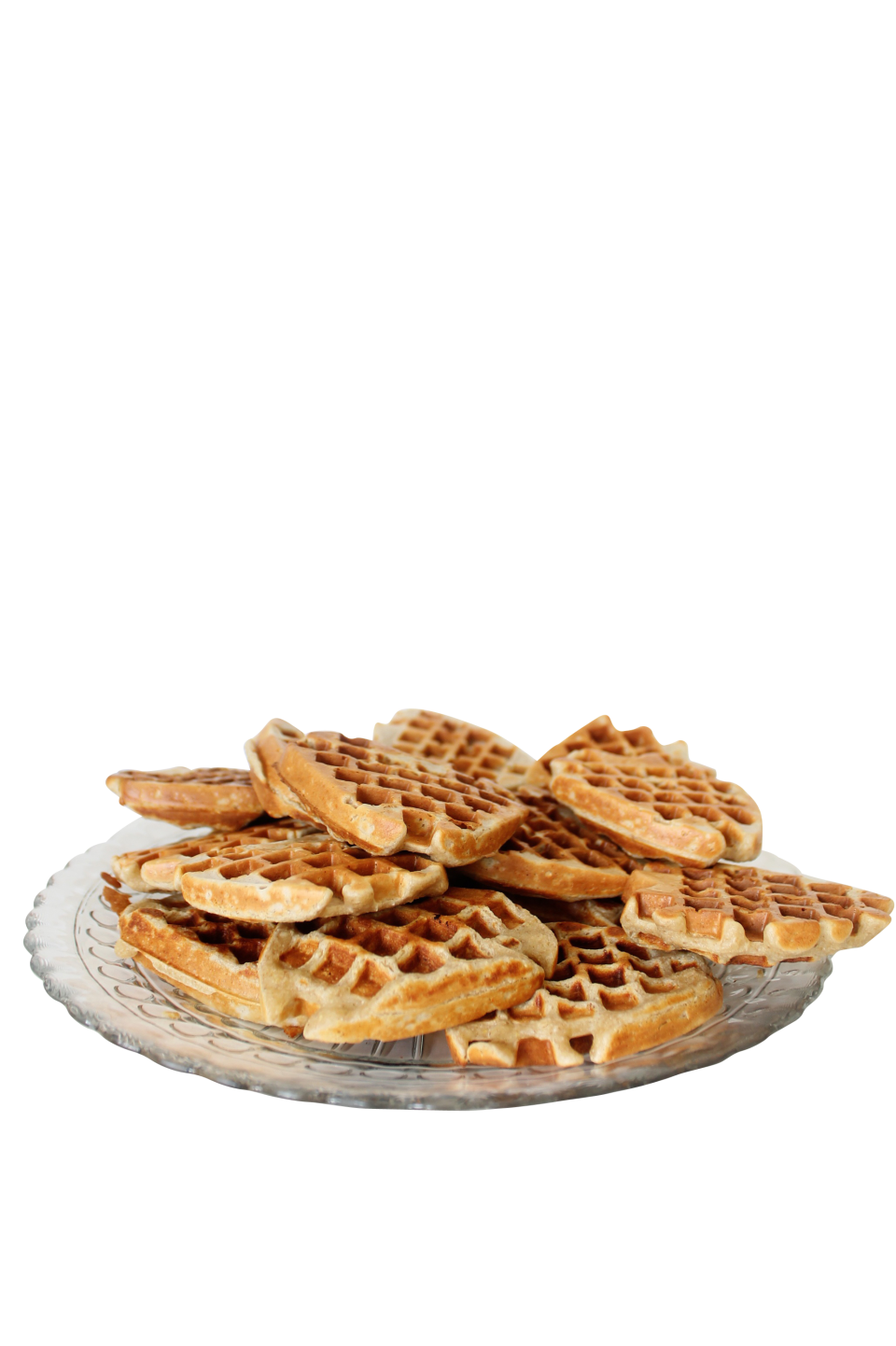 Baked Brown Waffles in a Plate PNG Image
