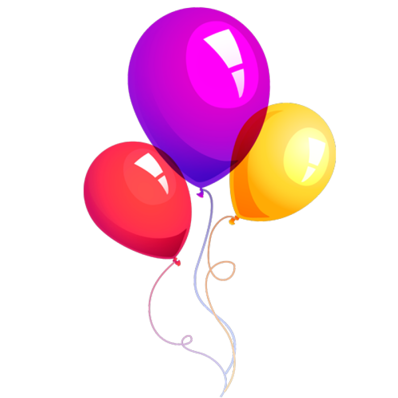 Flying Birthday Balloons PNG Image