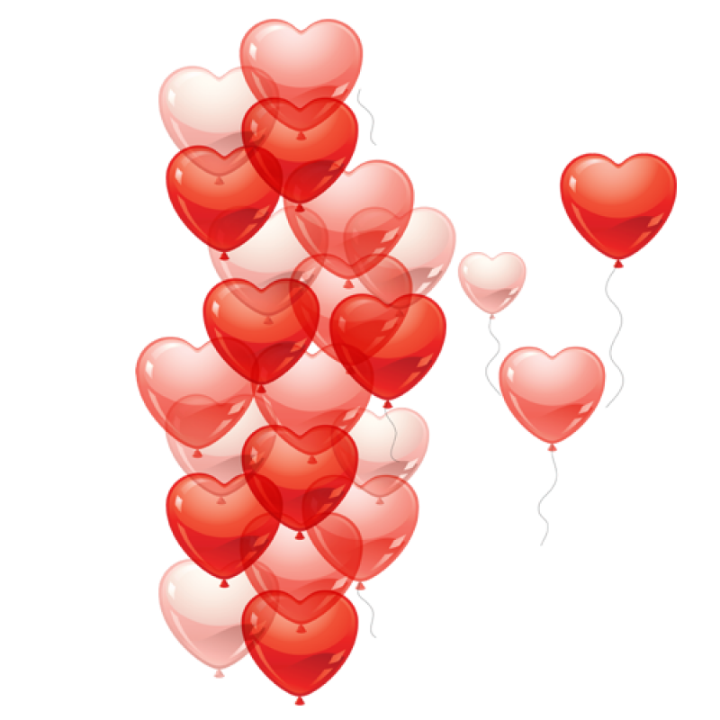Heart Shaped Balloons Flying PNG Image