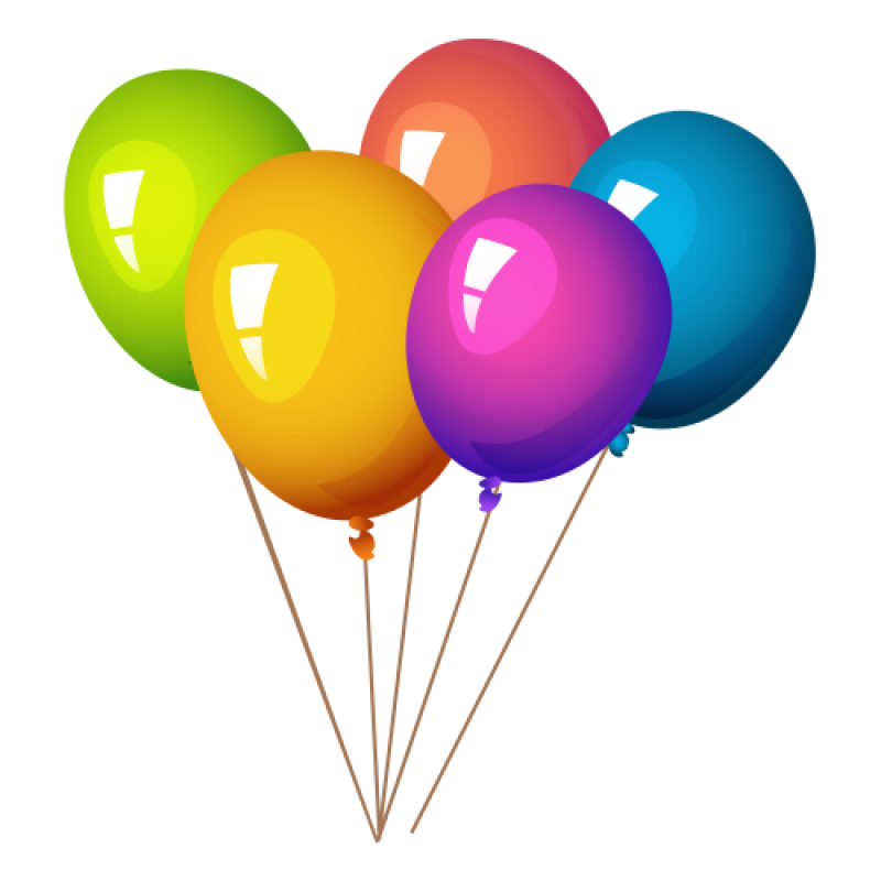 Rainbow Colored Balloons PNG Image