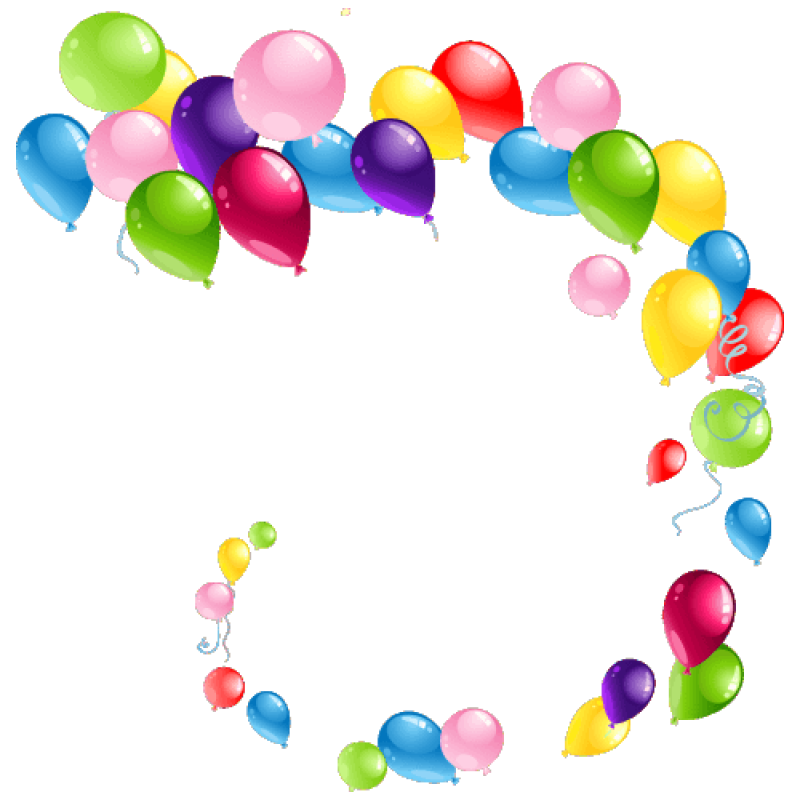 Curved Flying Balloons PNG Image