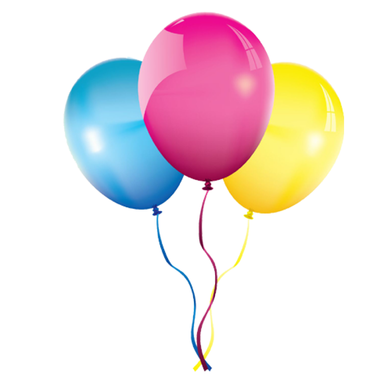 Flying Multicolored Balloons PNG Image