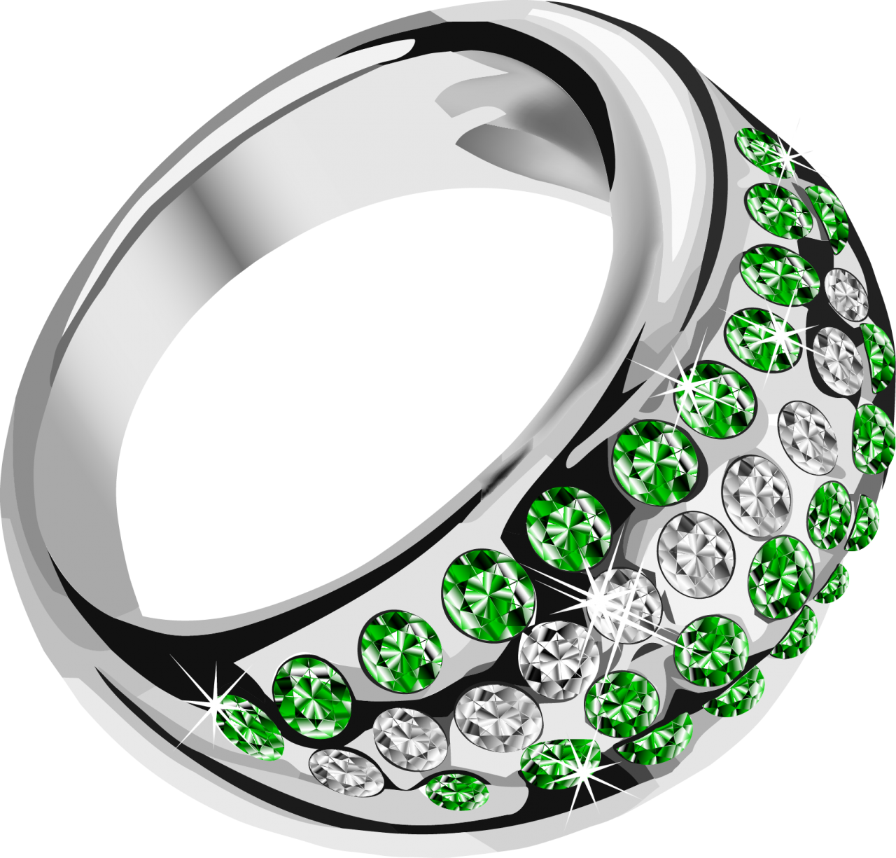 Beautiful Rings with Green Diamonds PNG Image