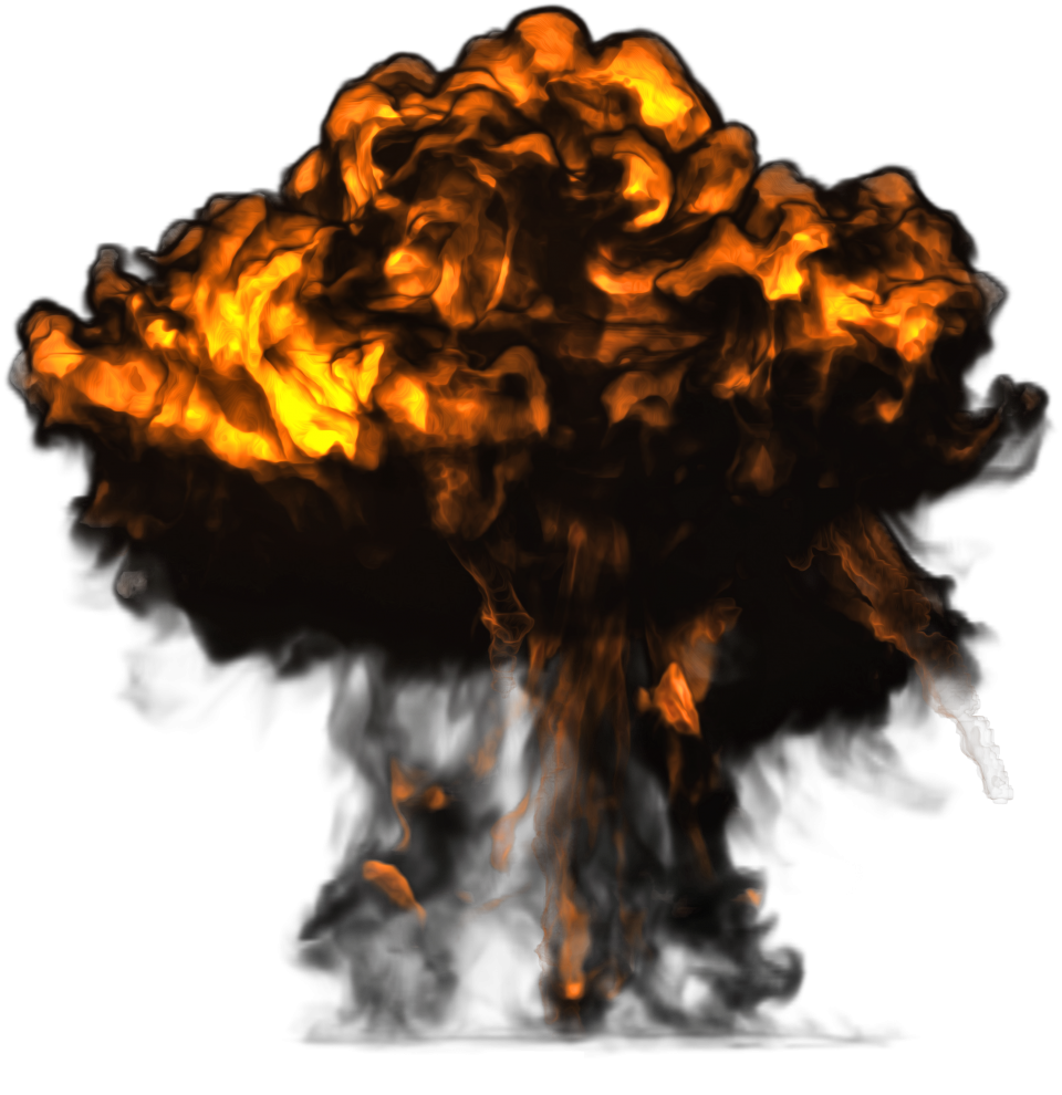 Big Explosion with Dark Smoke PNG Image