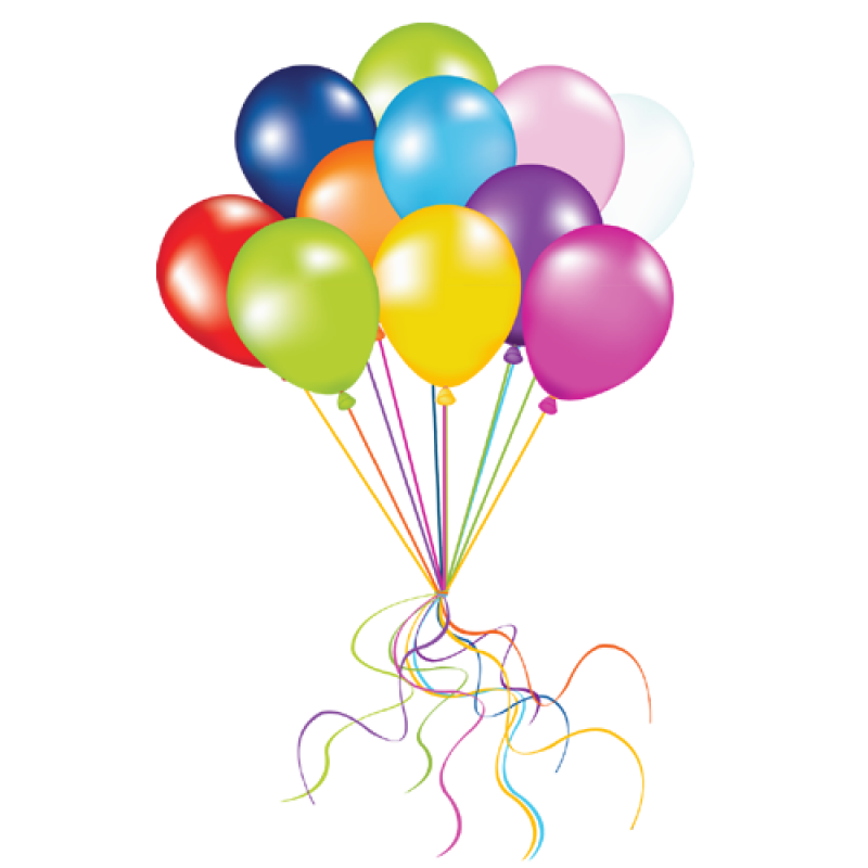 Multicolored Balloons Flying PNG Image