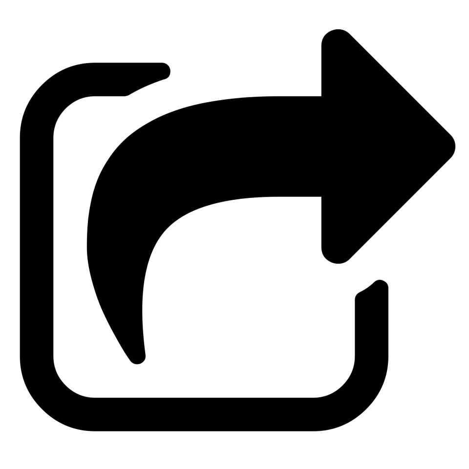 Black and White Share Icon Arrow PNG Image