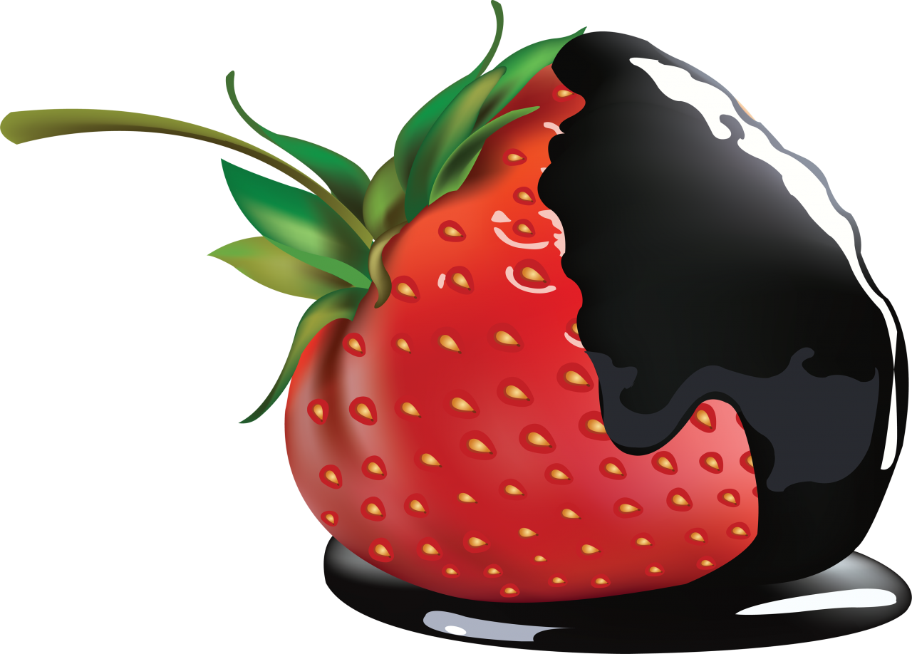Black Chocolate on Strawberry PNG Image