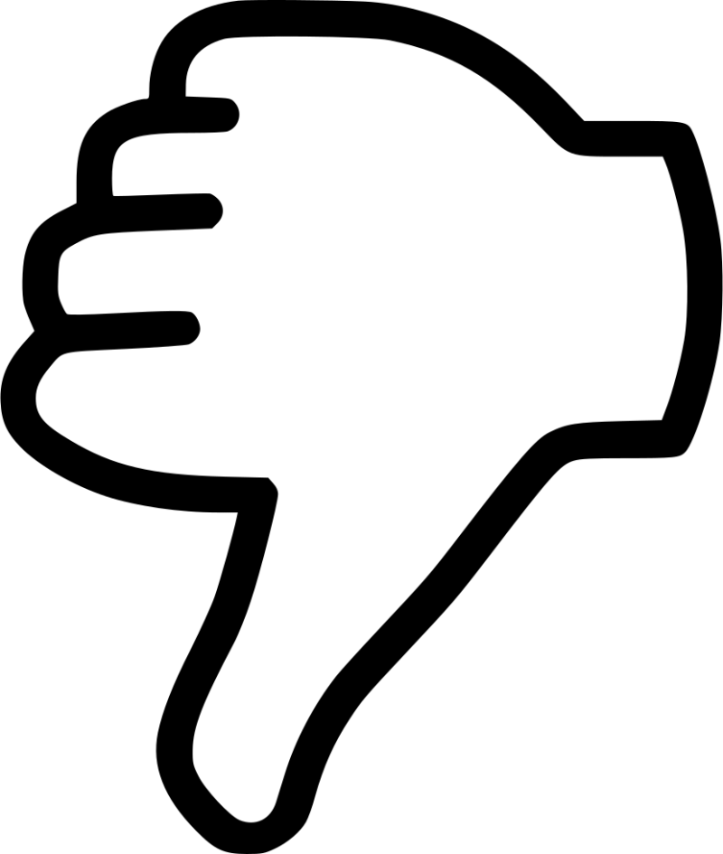 Black Dislike Thumb outline PNG Image