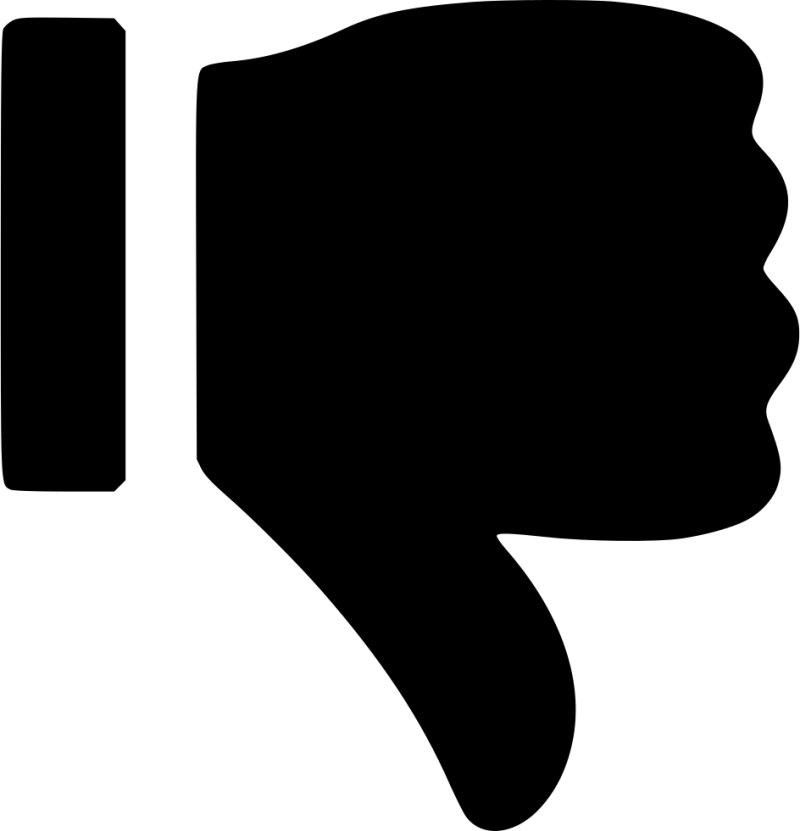 Black Dislike Thumb pointing down PNG Image