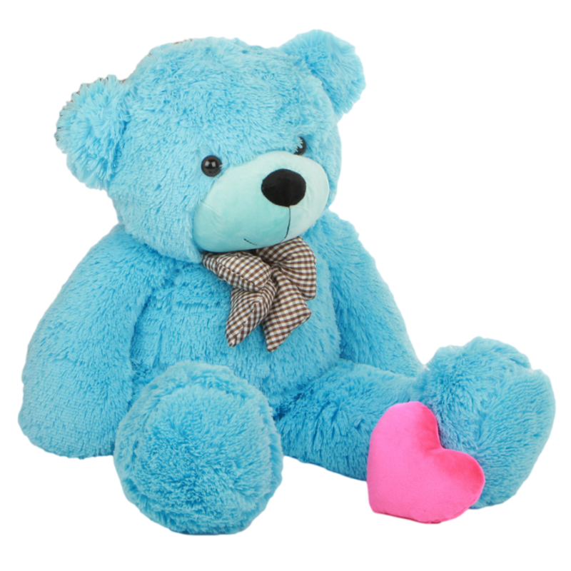 Blue Teddy Bear with pink Heart PNG Image