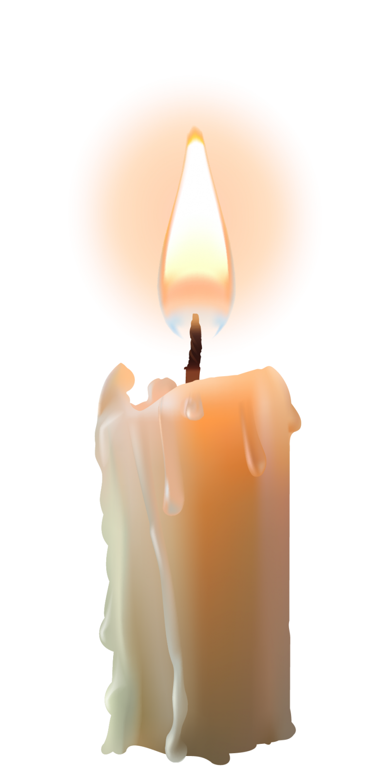 Bright Candle with Flame PNG Image