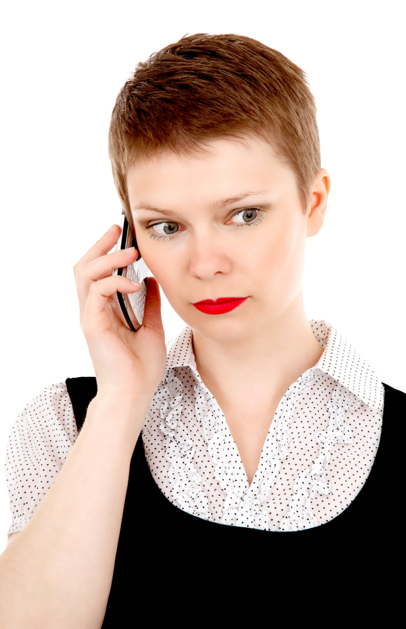Business Woman on Mobile Phone PNG Image