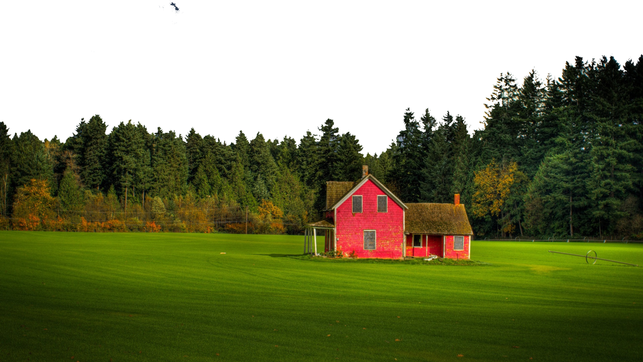 Pink House on Well-Manicured Lawn PNG Image