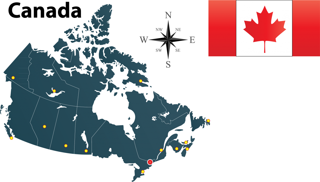 Map and Flag of Canada PNG Image