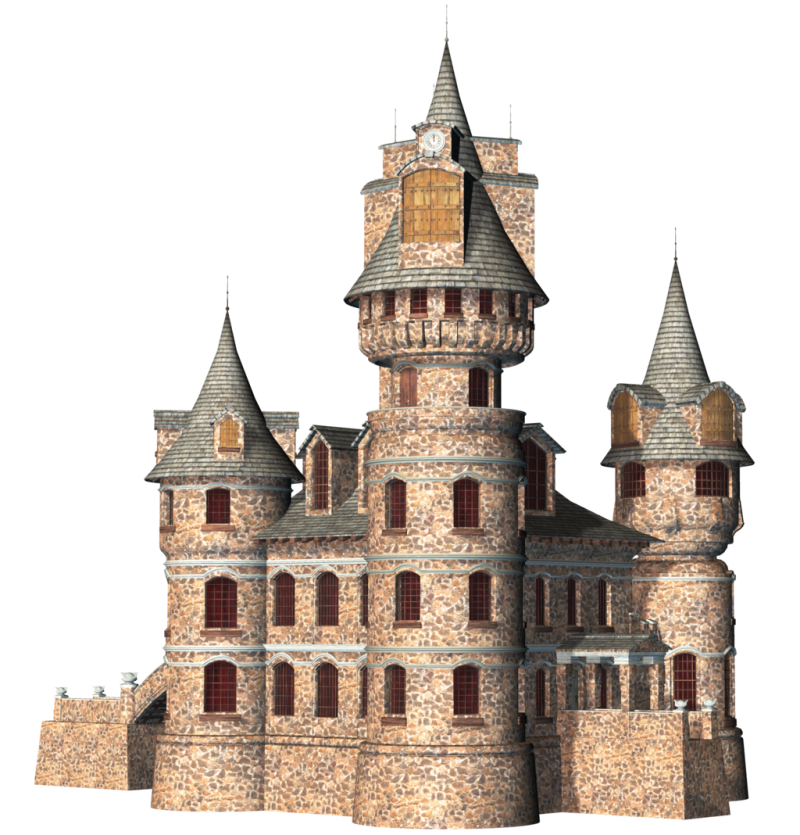 Coloured Drawing of a Castle PNG Image