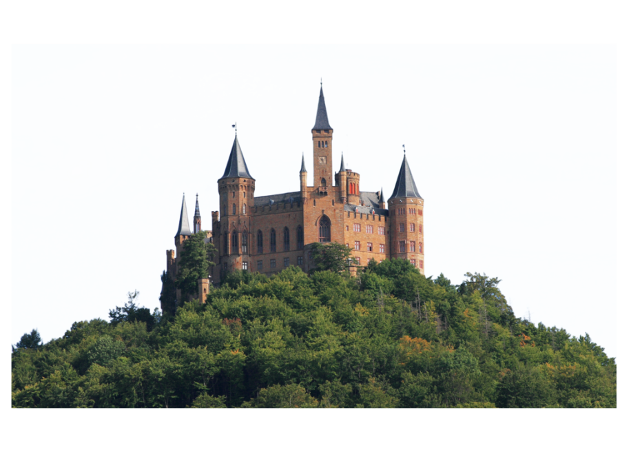 Castle on a Hill Surrounded by Trees PNG Image