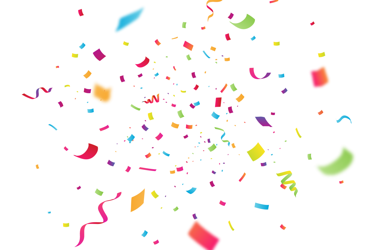 Celebration Confetti with Blur PNG Image