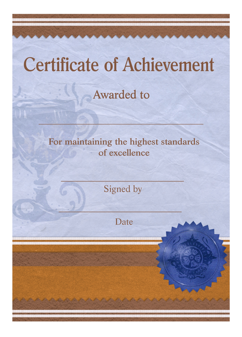 Certificate of Achievement Template PNG Image