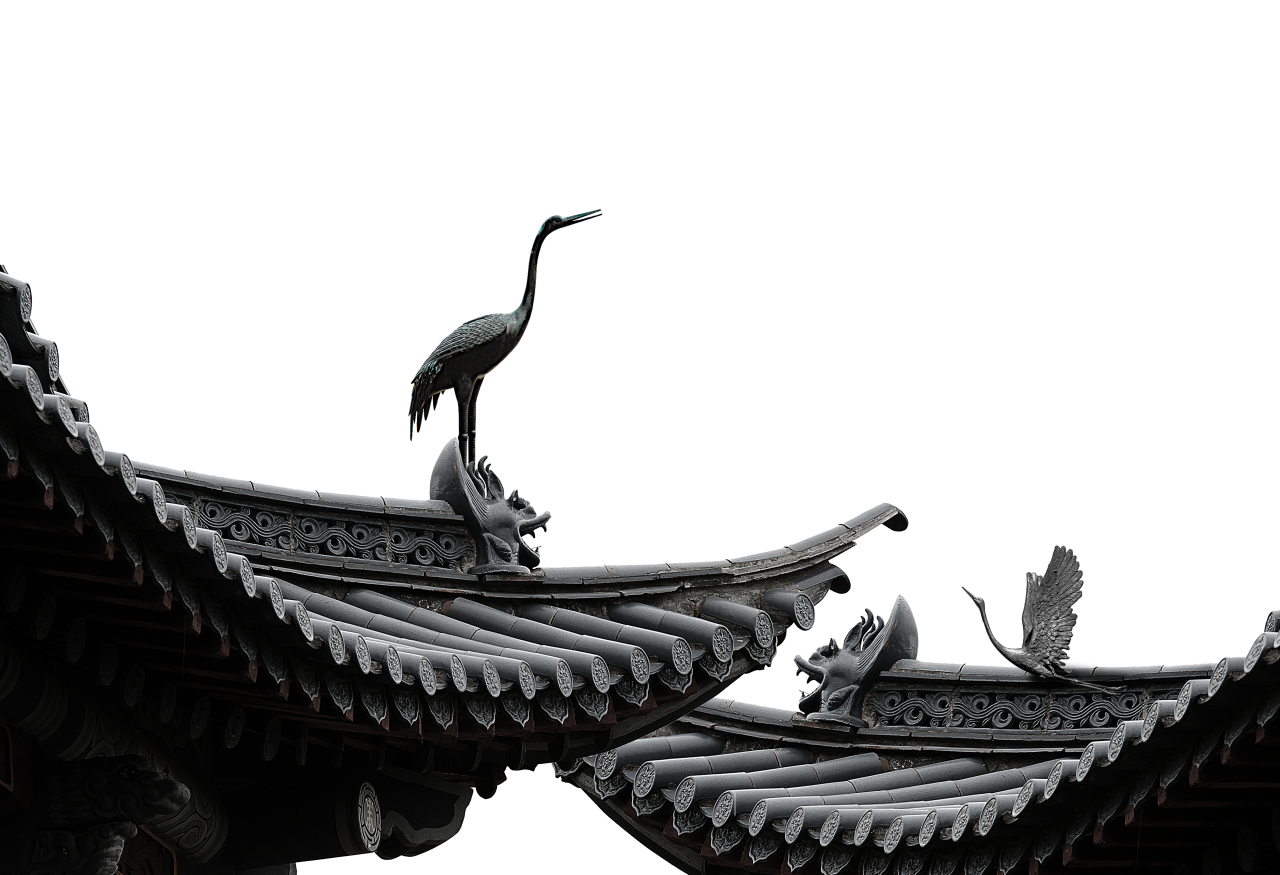 Sculptured Birds on Building - China PNG Image