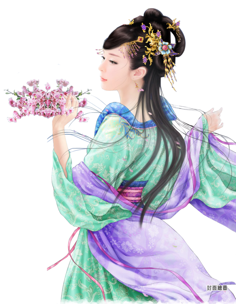 Chinese Lady Holding Flowers PNG Image