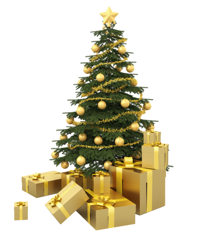 Christmas Tree with Golden Presents PNG Image