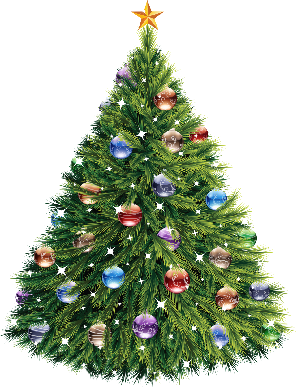Christmas Tree with Baubles PNG Image